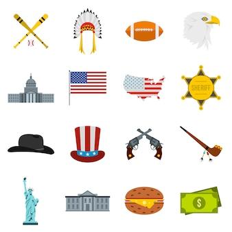 Conjunto de iconos de estados unidos