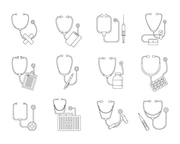 Conjunto de iconos de estetoscopio fonendo