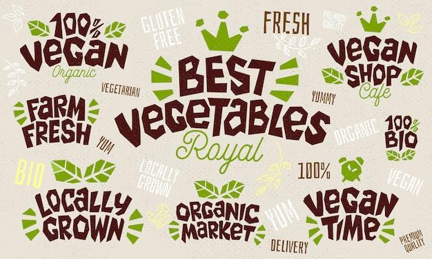 Conjunto de iconos de estilo boceto productos alimenticios letras