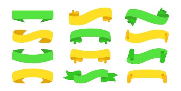 Conjunto de iconos de estilo de dibujos animados de cinta de banner de texto
