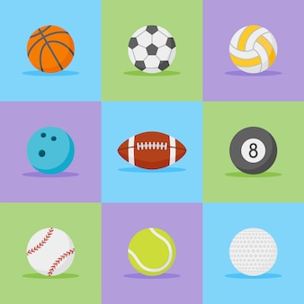 Conjunto de iconos de estilo plano de pelotas deportivas.