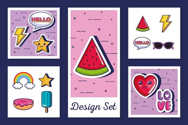 Conjunto de iconos estilo pop art