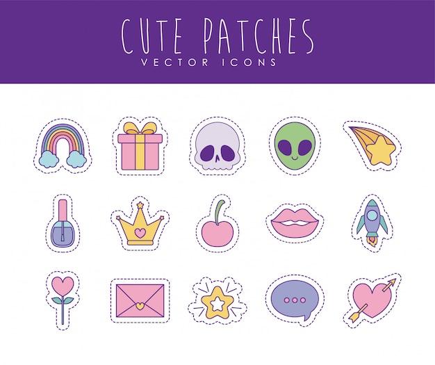 Conjunto de iconos de estilo de relleno y línea de parches lindo