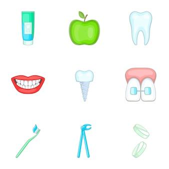 Conjunto de iconos de estomatología, estilo de dibujos animados