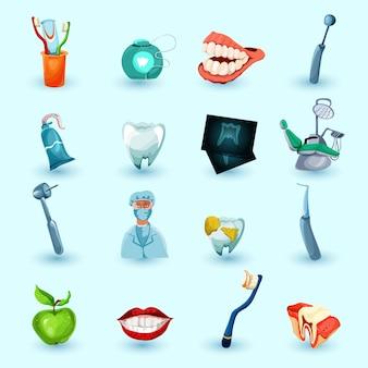 Conjunto de iconos de estomatología