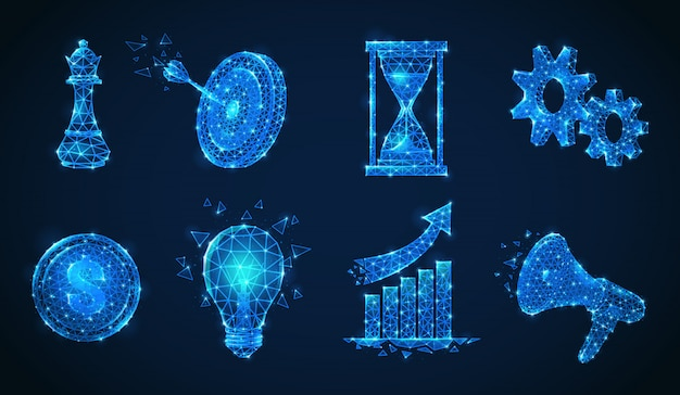Conjunto de iconos de estrategia empresarial de estructura metálica poligonal aislados brillantes de partículas brillantes y figuras geométricas