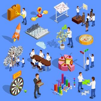 Conjunto de iconos de estrategia empresarial