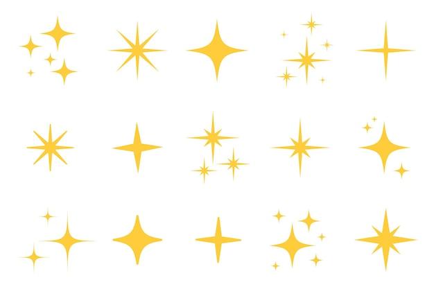 Conjunto de iconos de estrella plana de brillo flash. silueta de estrella centelleante para brillo dorado, luz de brillo amarillo, efecto de destello mágico brillante. ilustración de vector aislado.