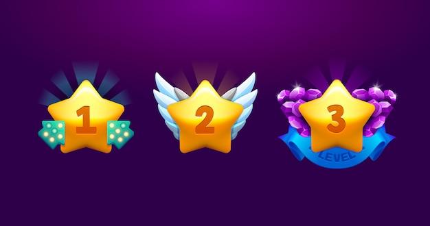 Conjunto de iconos de estrellas. subir de nivel premio ganador de dibujos animados vector aislado