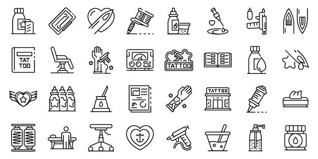 Conjunto de iconos de estudio de tatuaje, estilo de contorno