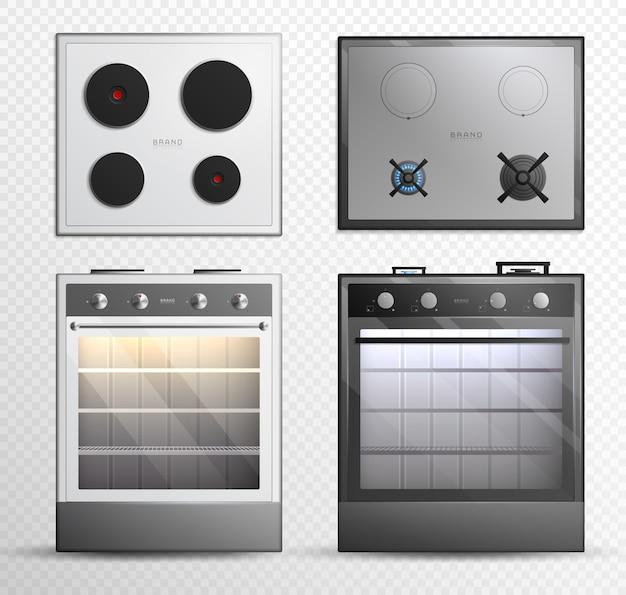 Conjunto de iconos de estufa superior de cocina eléctrica a gas