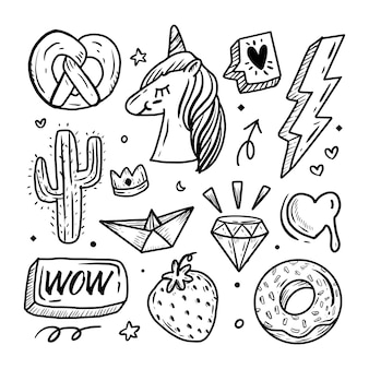 Conjunto de iconos de etiqueta engomada de dibujo a mano lindo unicornio
