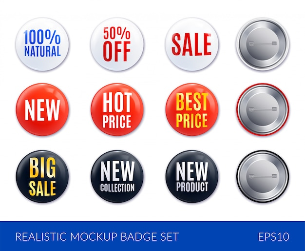 Conjunto de iconos de etiqueta de insignia realista blanco y negro rojo con nuevo precio caliente venta de mejor precio y otras descripciones ilustración