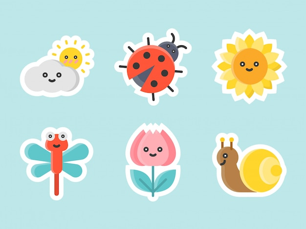 Conjunto de iconos de etiqueta plana de pascua