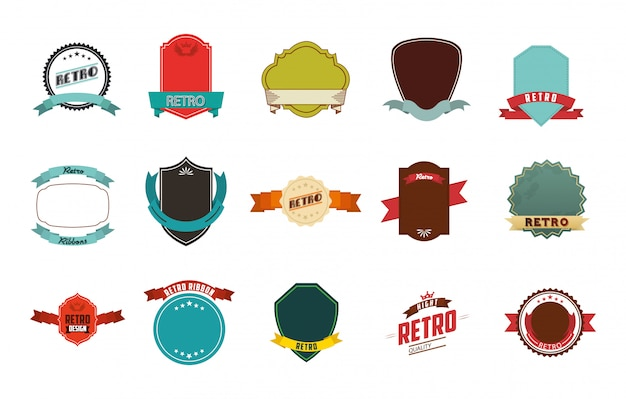 Conjunto de iconos de etiqueta retro