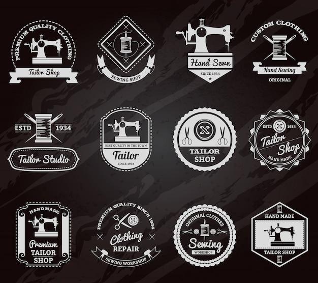 Conjunto de iconos de etiquetas de pizarra de sastrería