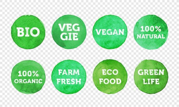 Conjunto de iconos de etiquetas de productos bio, vegetales, frescos de granja, veganos, 100 productos orgánicos y locales.