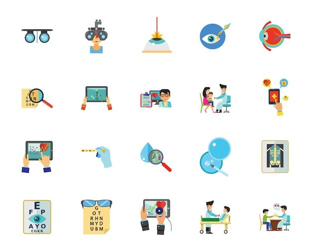 Conjunto de iconos de examen médico