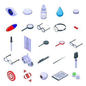 Conjunto de iconos de examen ocular, estilo isométrico