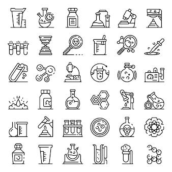 Conjunto de iconos de experimento de laboratorio químico, estilo de contorno