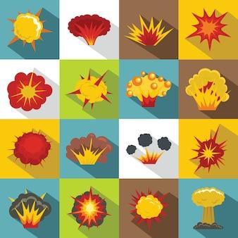Conjunto de iconos de explosión, estilo plano