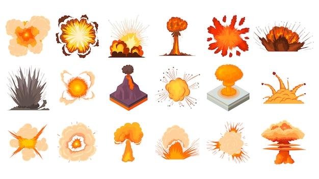 Conjunto de iconos de explosión