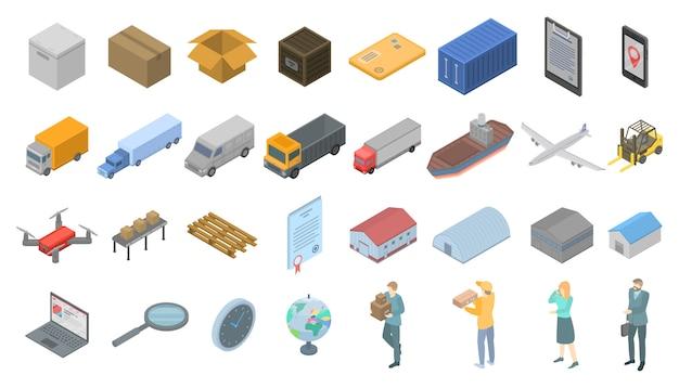 Conjunto de iconos de exportación de mercancías, estilo isométrico.