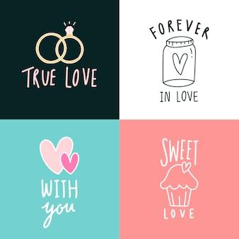 Conjunto de iconos de expresiones de amor