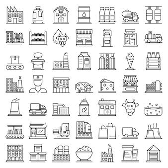 Conjunto de iconos de fábrica de leche, estilo de contorno
