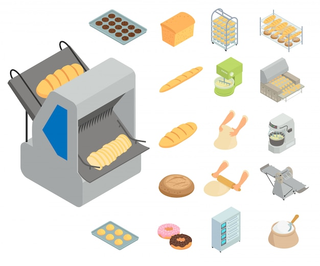 Conjunto de iconos de fábrica de panadería. conjunto isométrico de iconos de vector de fábrica de panadería aislado sobre fondo blanco