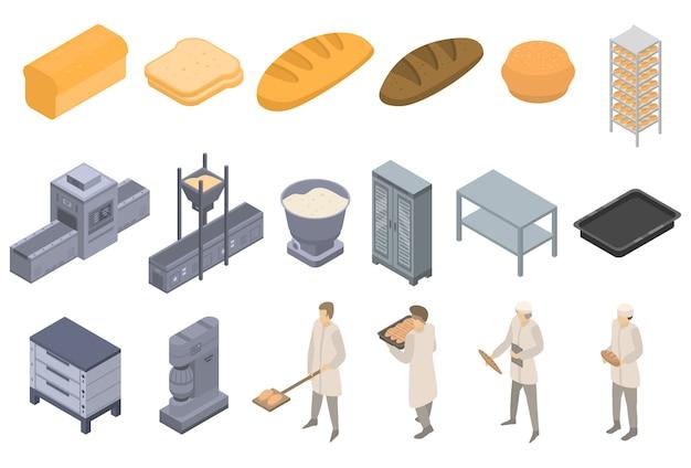 Conjunto de iconos de fábrica de panadería, estilo isométrico