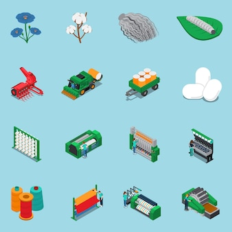 Conjunto de iconos de fabricación textil