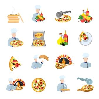 Conjunto de iconos de fabricante de pizza
