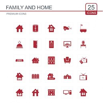 Conjunto de iconos de familia y hogar