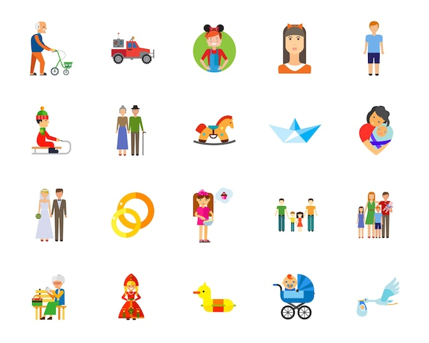 Conjunto de iconos de familia y matrimonio