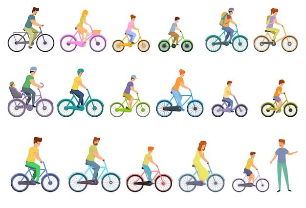 Conjunto de iconos familiares bicicleta, estilo de dibujos animados
