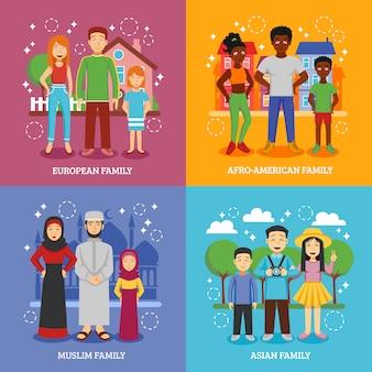 Conjunto de iconos de familias nacionales