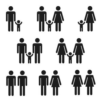 Conjunto de iconos de familias, símbolos simples de figura de palo. parejas tradicionales y homosexuales con niños.