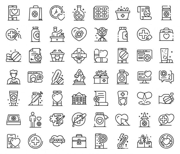 Conjunto de iconos de farmacéutico, estilo de contorno