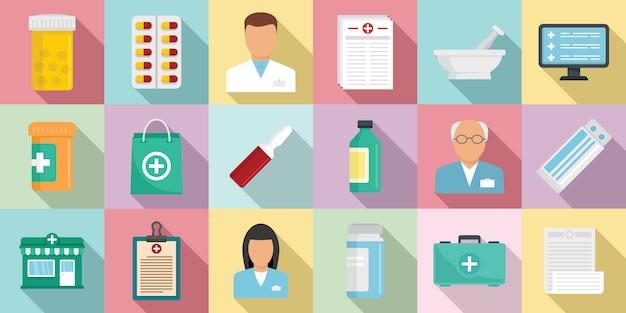 Conjunto de iconos de farmacéutico