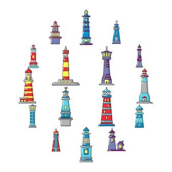 Conjunto de iconos faro, estilo de dibujos animados