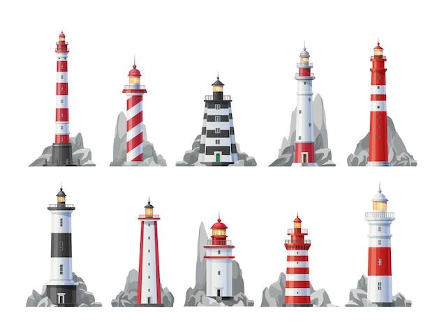 Conjunto de iconos de faro de torres náuticas con luces de baliza