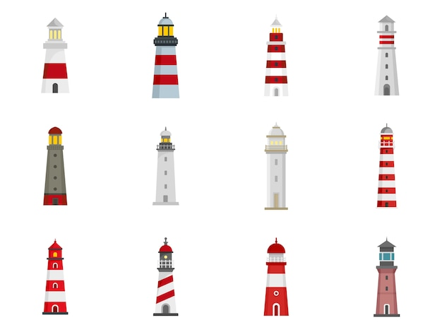 Conjunto de iconos de faro