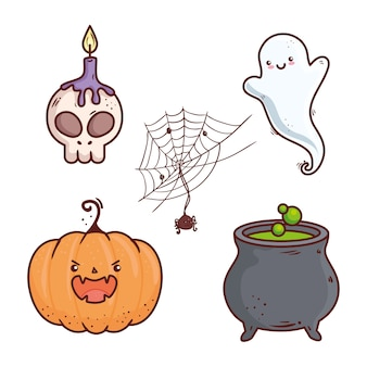 Conjunto de iconos de feliz celebración de halloween