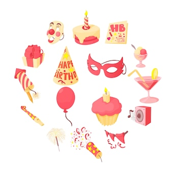 Conjunto de iconos de feliz cumpleaños, estilo de dibujos animados