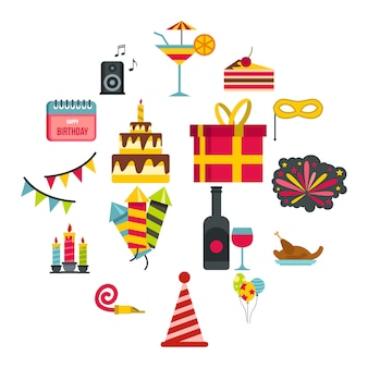 Conjunto de iconos de feliz cumpleaños, estilo plano