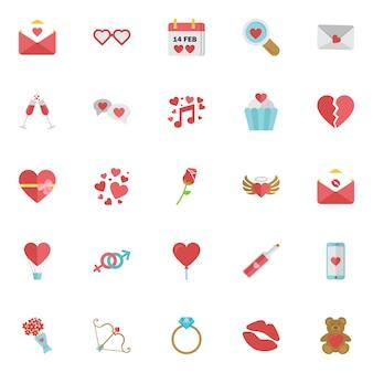 Conjunto de iconos de feliz día de san valentín aislado.