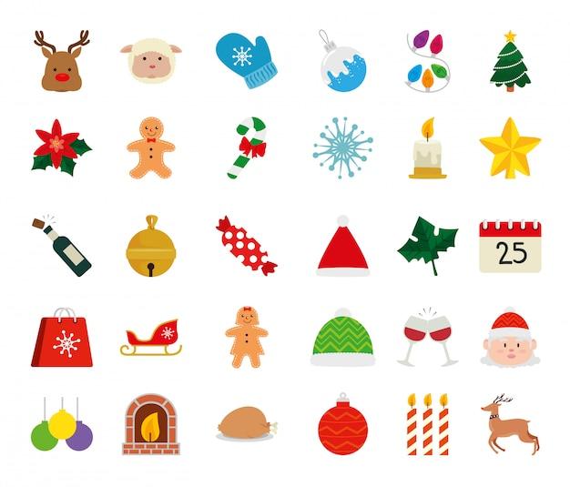 Conjunto de iconos feliz navidad
