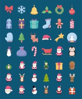 Conjunto de iconos de feliz navidad