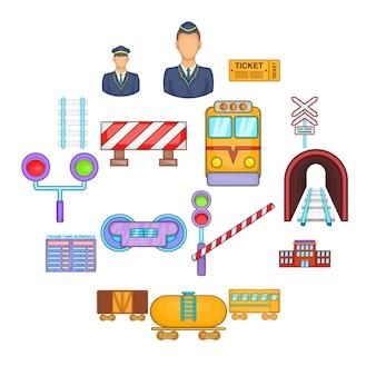 Conjunto de iconos de ferrocarril, estilo de dibujos animados